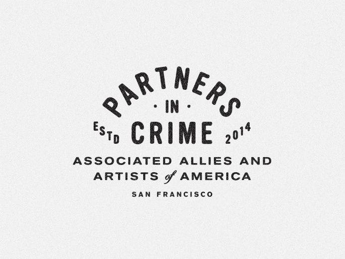 Typography block logo vintage black white clean simple Sans serif partners in crime San Francisco