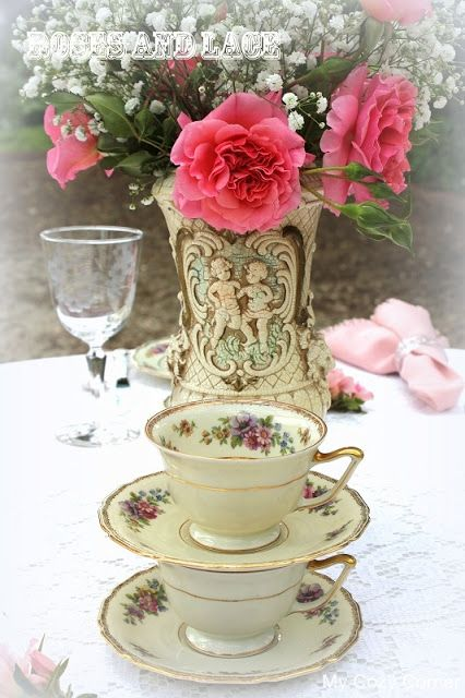 My Cozy Corner: ~Roses and Lace~Tablescape # 63