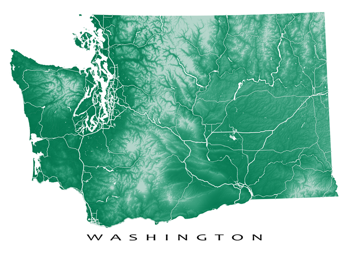 Washington Map Print Usa State Wa Washington Map State Map Art Map Print