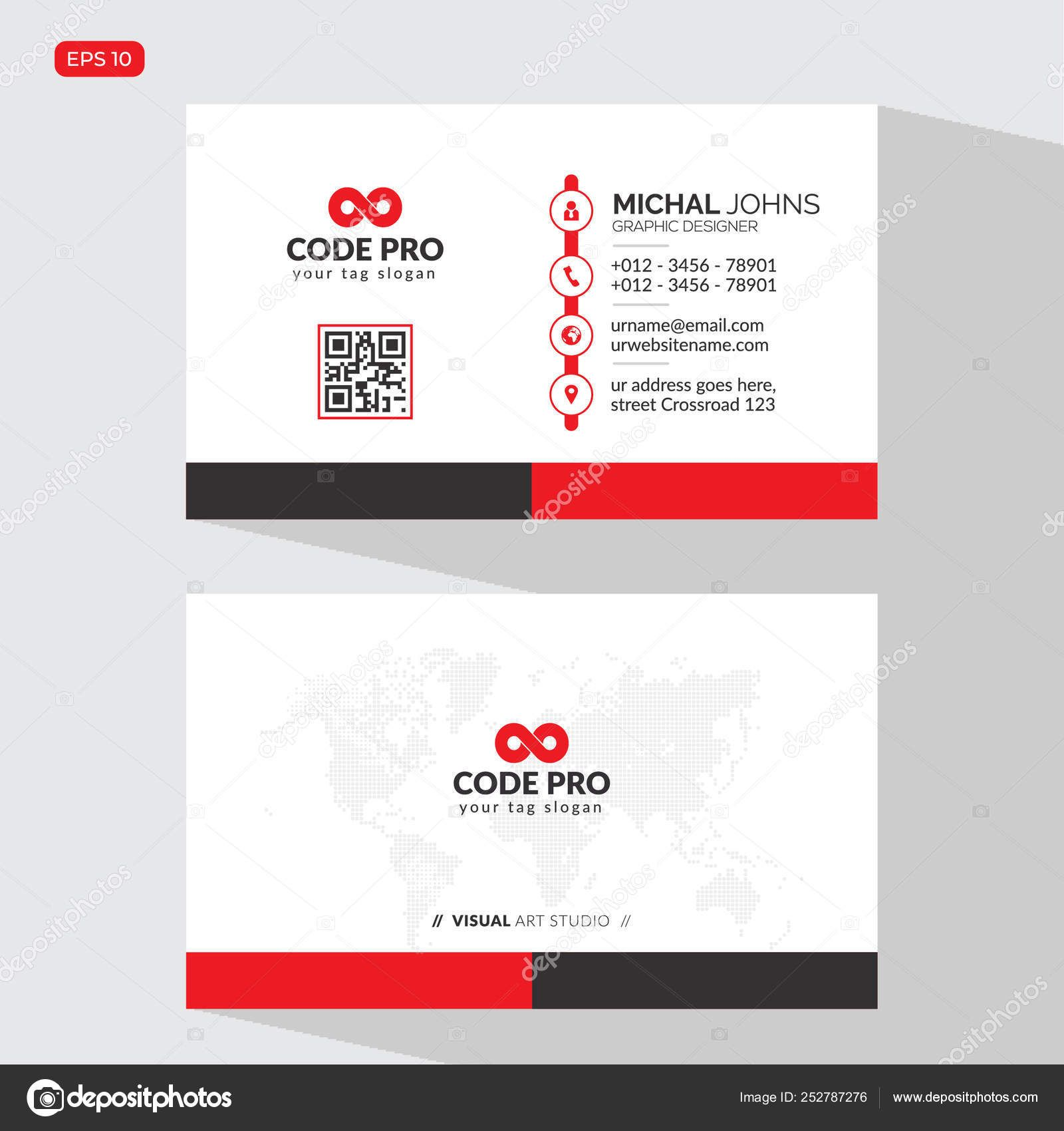 Modern Creative Business Card Name Card Horizontal Simple Within Place Card Size Template Prof Business Cards Creative Business Card Template Word Name Cards