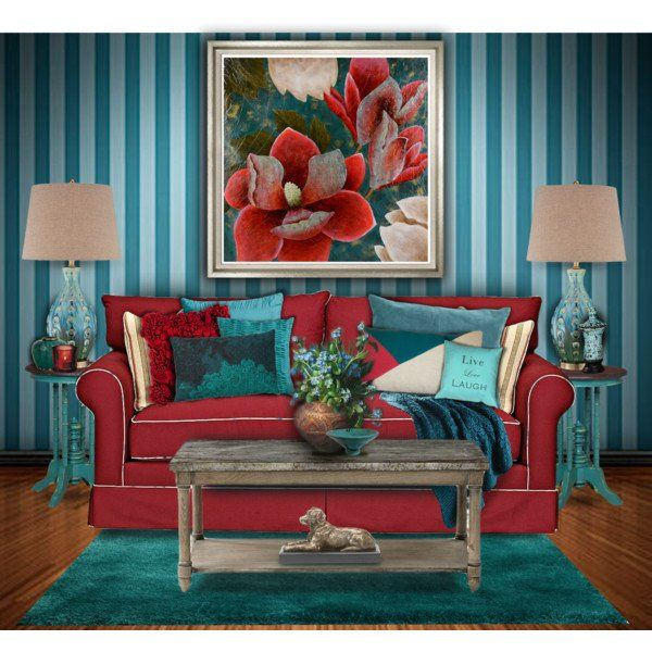 Brown And Red Living Room Decor Ideas: Red And Turquoise Living Room #4: Elegant Brown Red Teal