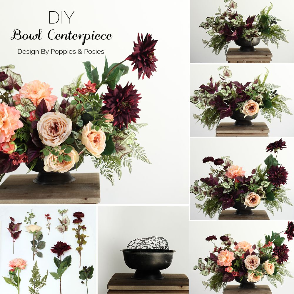 Diy Bowl Centerpiece Silk Wedding Flowers Flower Centerpieces Diy Silk Flower Arrangements Fall Floral Arrangements