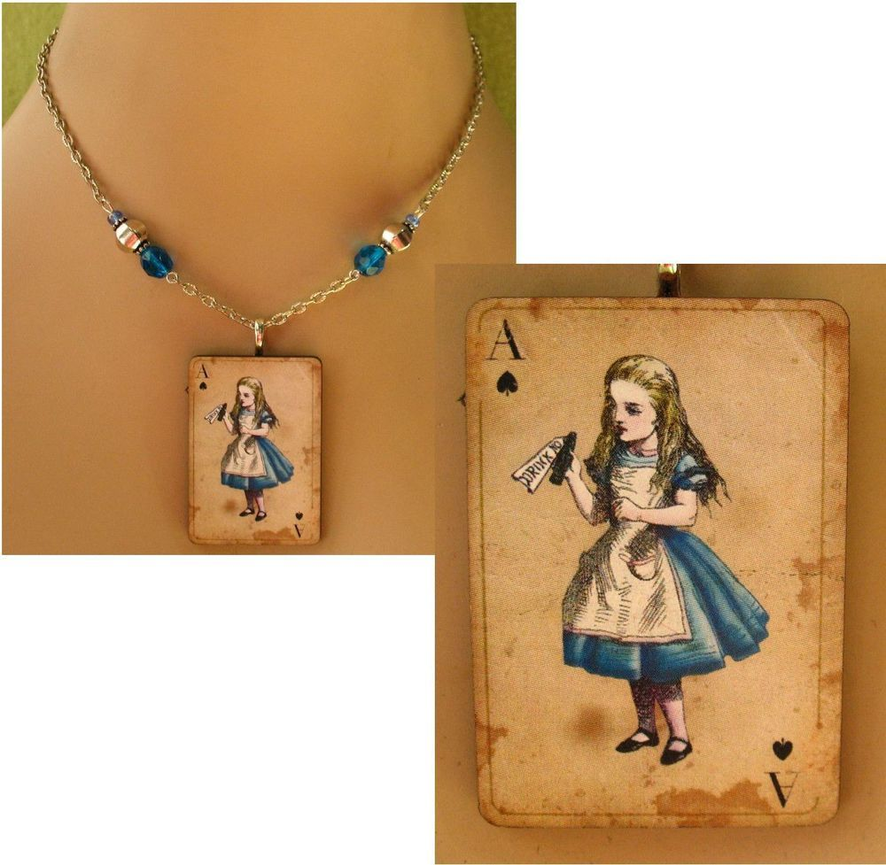 Alice In Wonderland Pendant Necklace Handmade Chain Blue Wood Adjustable Alloy #handmade #Pendant