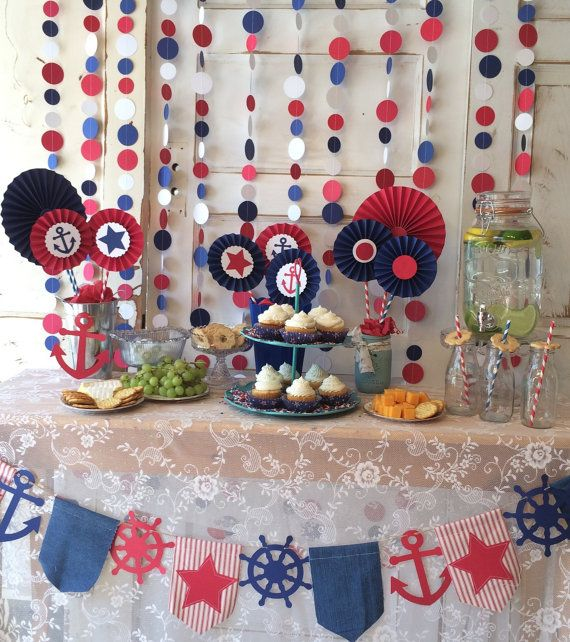 Nautical Baby Shower Decorations Red White And Blue Party Polka Dot Backdrop For Candy