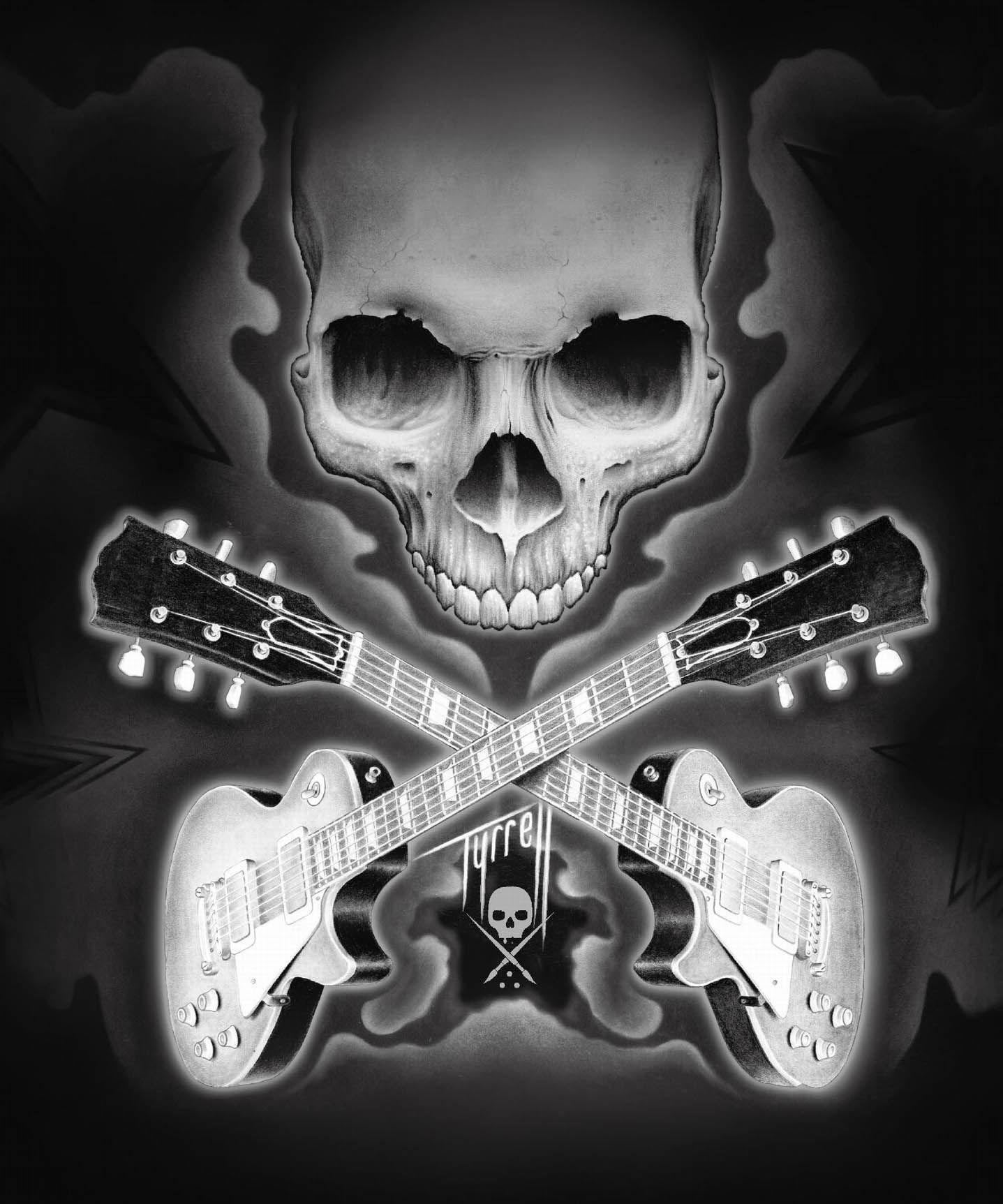 вид фото рок с гитарой скелет керамическая плитка