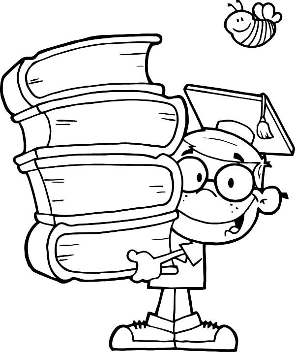 Graduation Genius Kid Graduation Coloring Pages