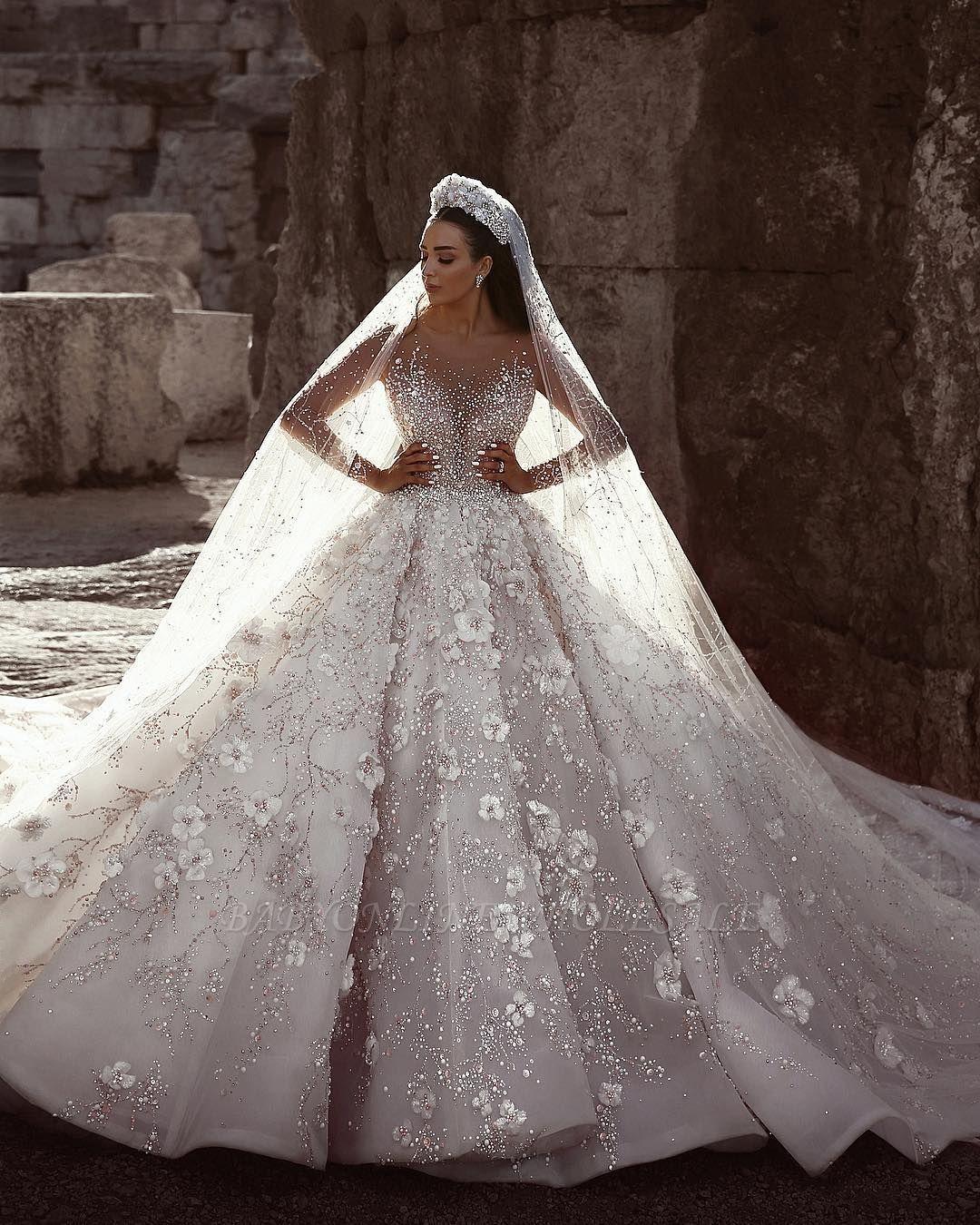 Photo of Vestidos de novia florales con cuentas de lujo | Vestido de fiesta con mangas largas y cuello transparente …