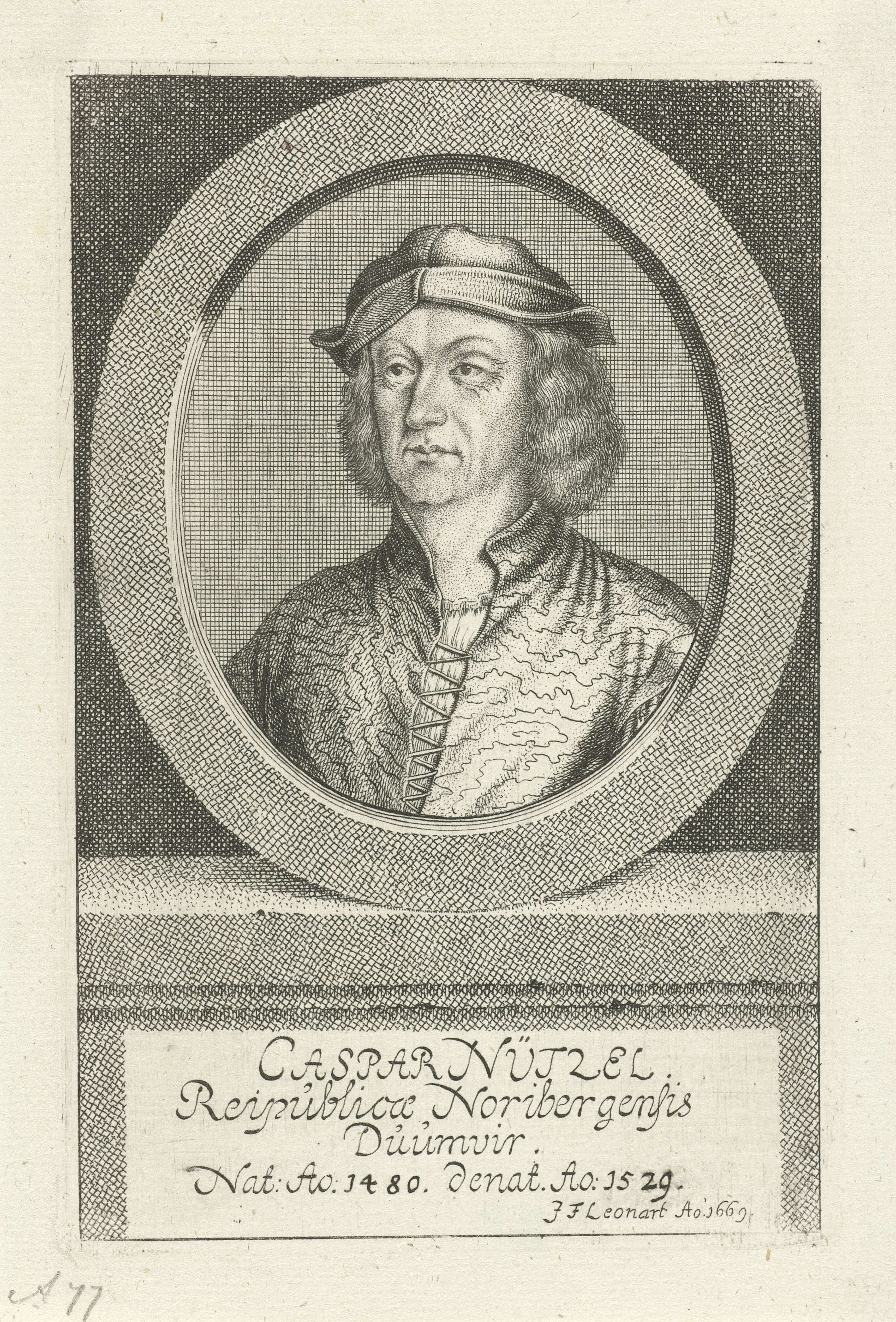 Johann Friedrich Leonard | Portret van Caspar Nützel, Johann Friedrich Leonard, 1669 | Portret van Caspar Nützel, magistraat te Neurenberg.