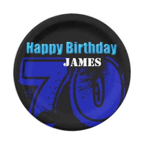 Happy 70th Birthday Personalized Paper Plates  sc 1 st  Pinterest & Happy 70th Birthday Personalized Paper Plates | Party Paper Plates ...