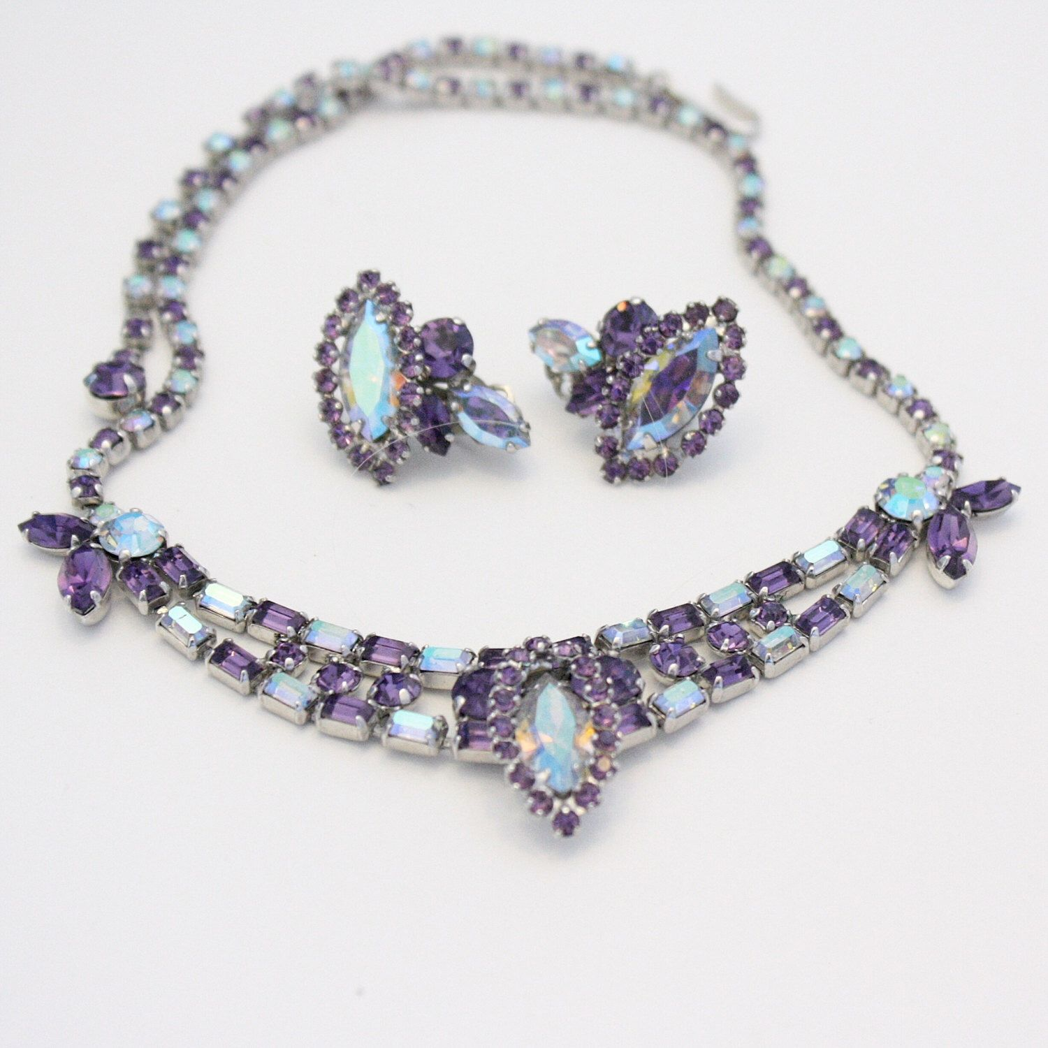 FS Vintage Sherman Signed Purple AB Rhinestone Choker Necklace Earrings Set by Epoques on Etsy https://www.etsy.com/ca/listing/268332341/fs-vintage-sherman-signed-purple-ab