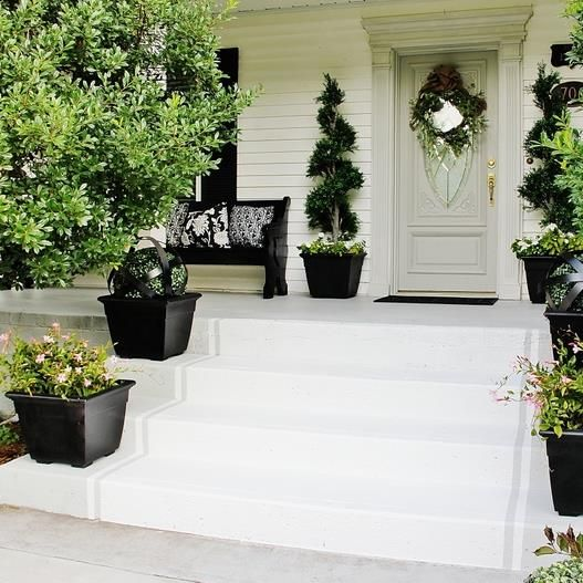 Total Front Step Transformation For Under 50 Front Porch Steps Painted Concrete Steps Painted Front Porches