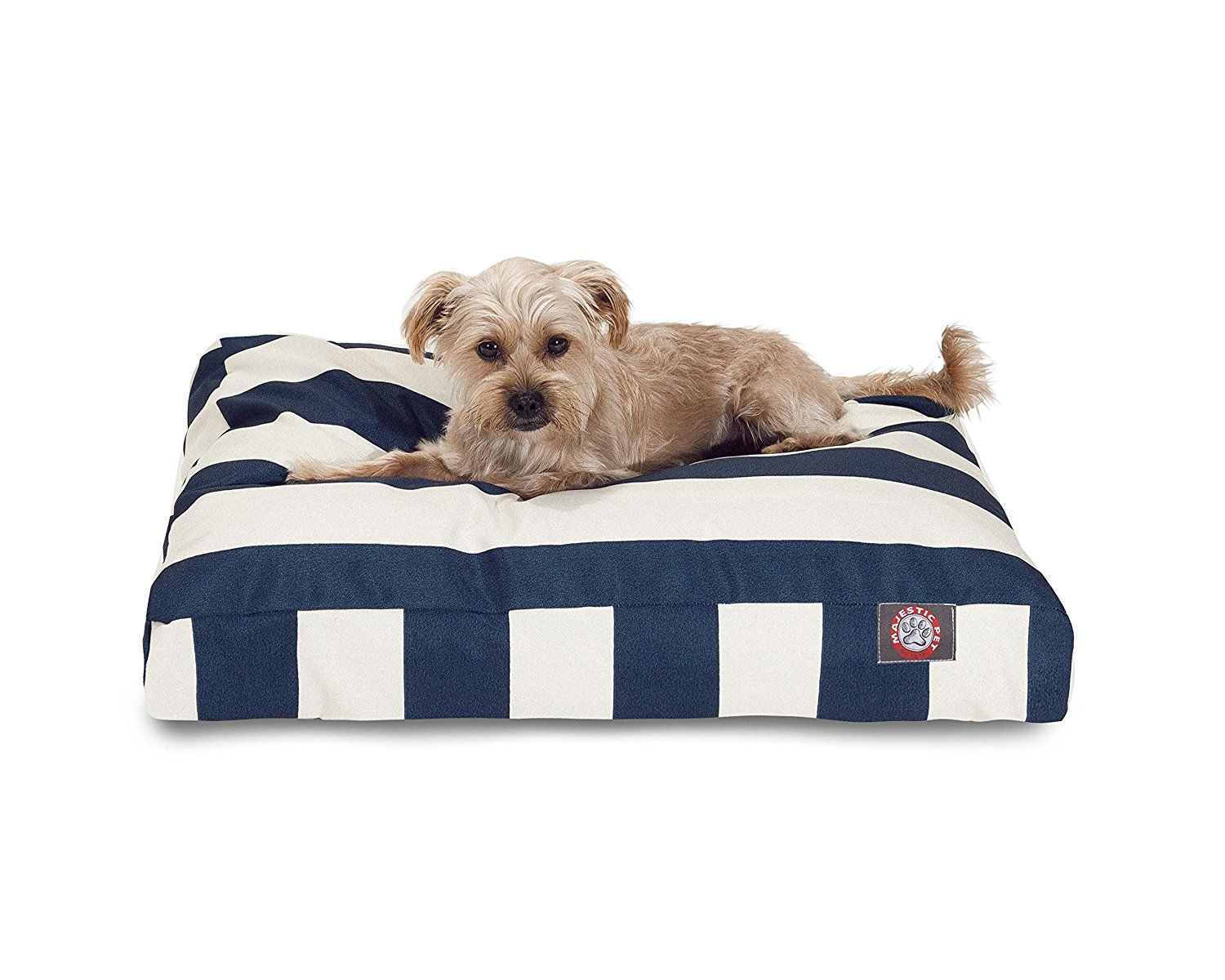 Navy Blue Vertical Stripe Small Rectangle Indoor Outdoor Pet Dog Bed ...