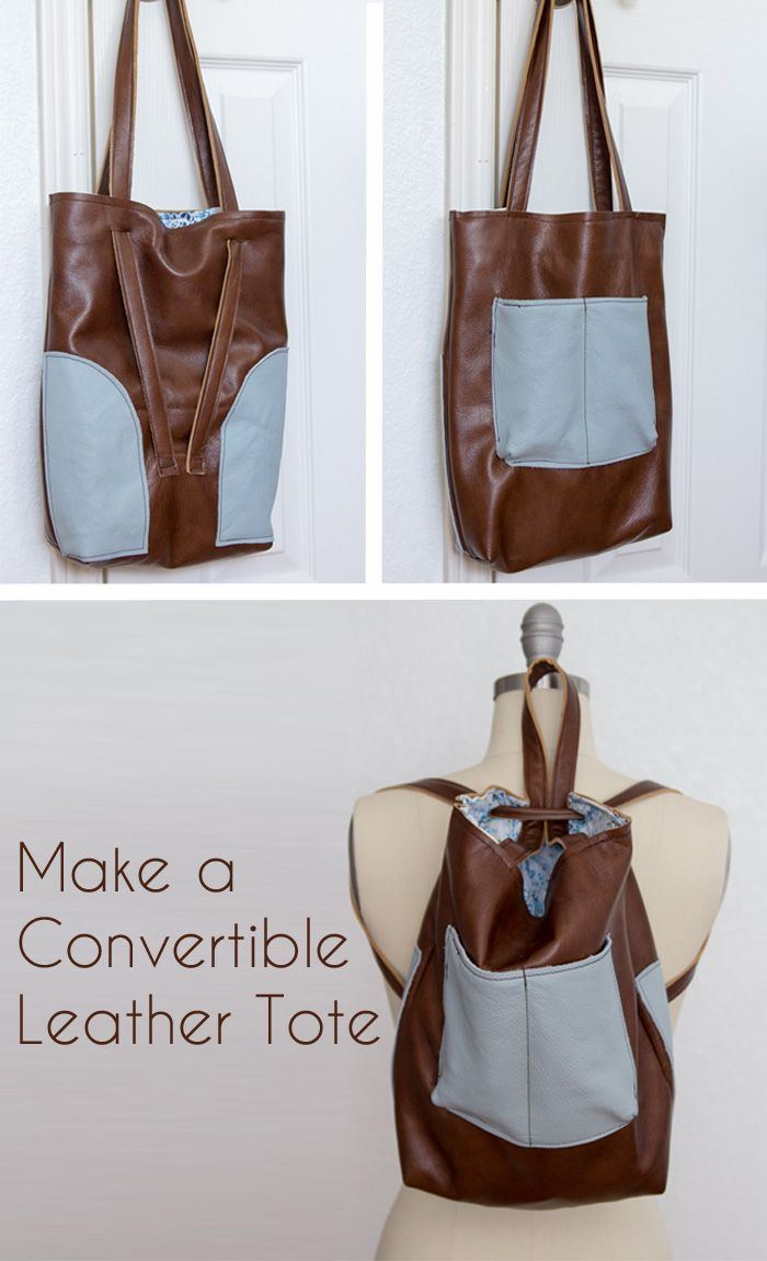 Leather Tote Bag with Convertible Strap | Melly Sews | Pinterest ...