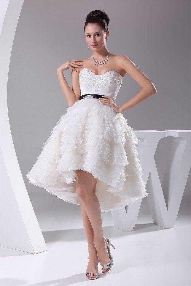 Knie Umfangreich knielanges Rocklänge-asymmetrisches Brautkleid ...