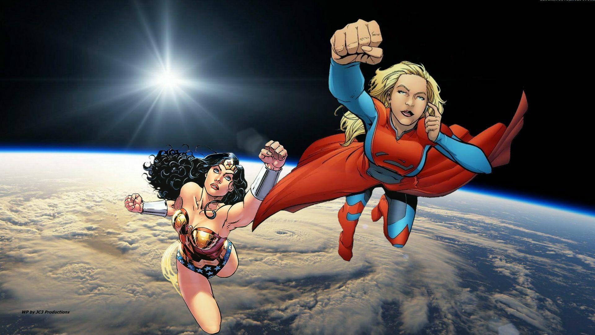 Wonder Woman Supergirl In Space Wallpaper Wonder Woman Supergirl Superhero