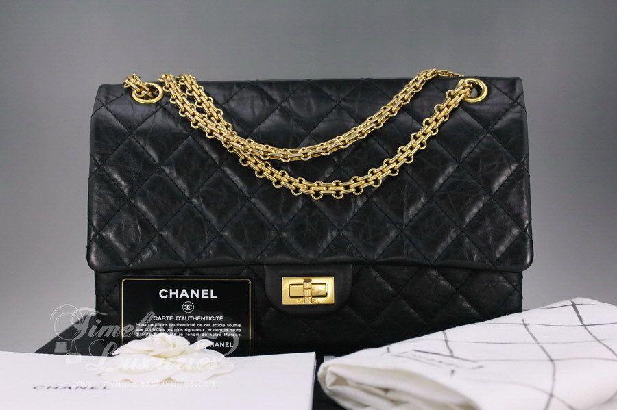 3e4b93588765 CHANEL Black Aged Calf 2.55 Reissue Flap Bag 226 Gold Hw | Timeless ...