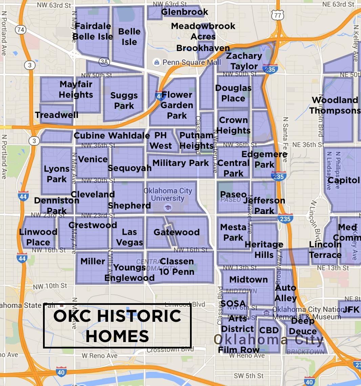 OKC Historic Homes Neighborhood Map | T R A V E L | Okc map ...