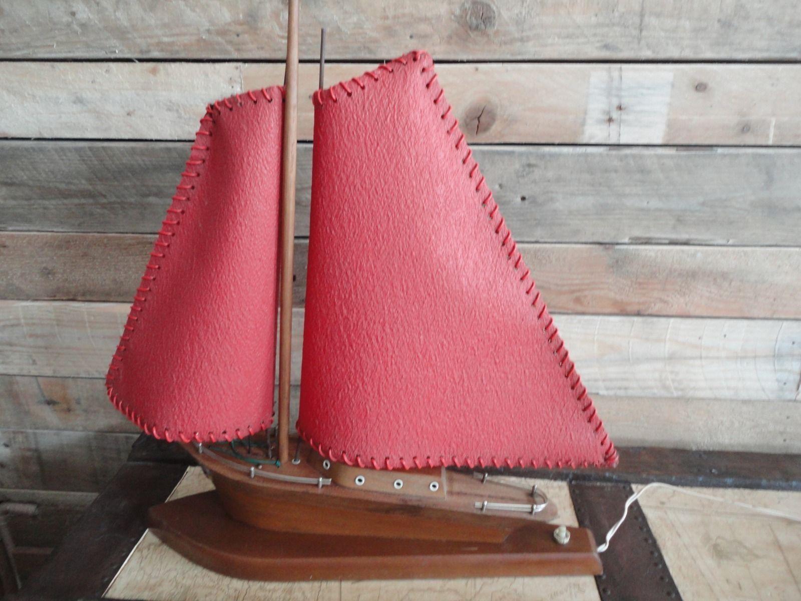 Lovely art deco wooden boat table lamp light rare red sail lovely art deco wooden boat table lamp light rare red sail version geotapseo Image collections