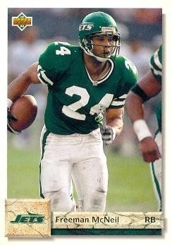 Freeman McNeil Football Card (New York Jets) 1992 Upper Deck #285 by Hall of Fame Memorabilia. $30.95. Freeman McNeil Football Card (New York Jets) 1992 Upper Deck #285. Signed items come fully certified with Certificate of Authenticity and tamper-evident hologram.