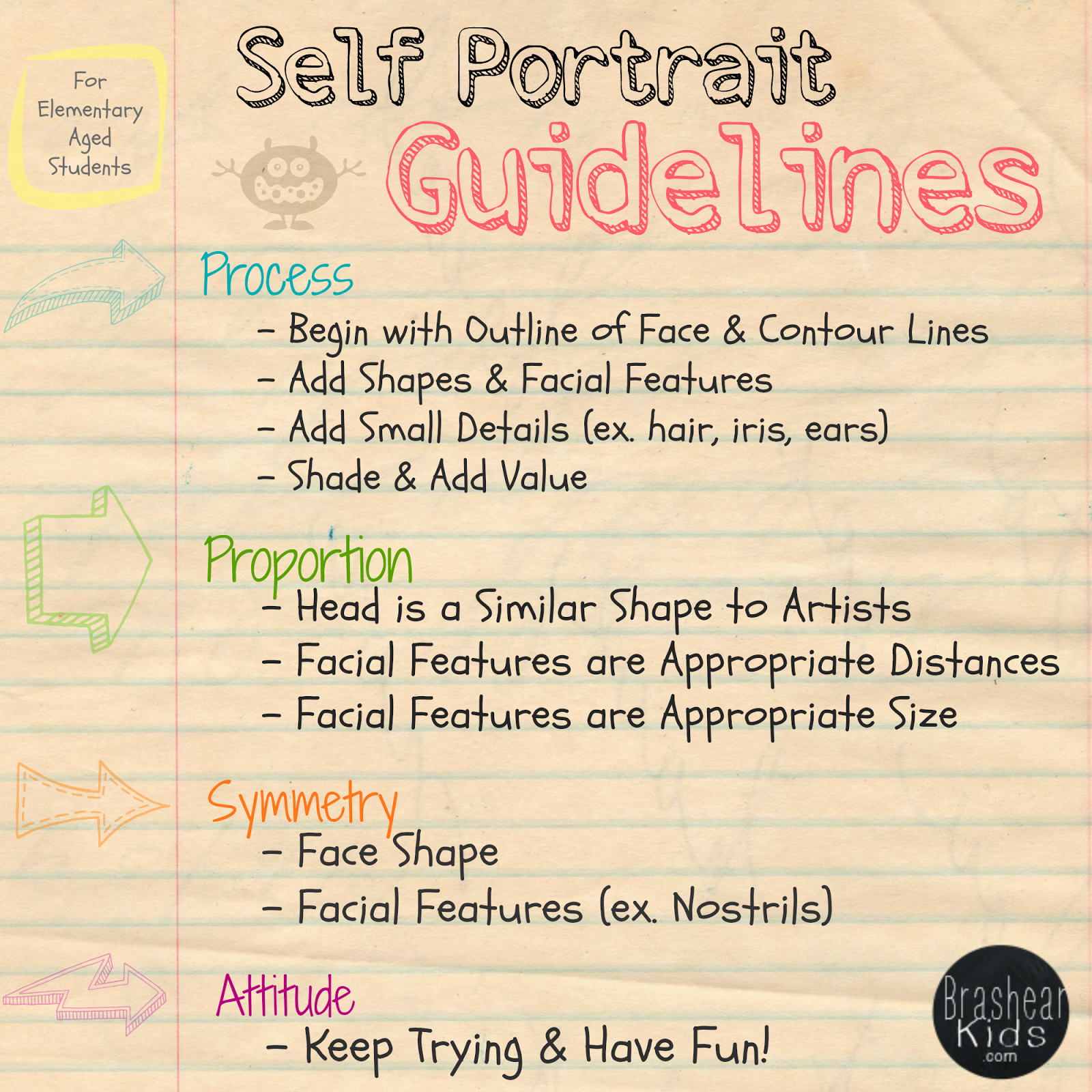 Self Portraits For Elementary Aged Students Art