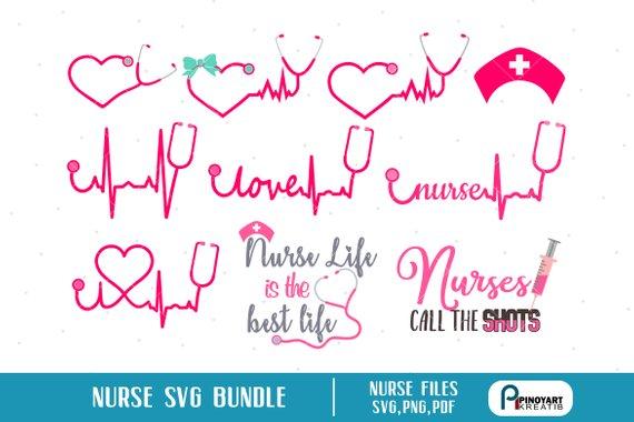 Nurse Svg Heartbeat Svg Ekg Svg Nurse Life Svg Stethoscope Svg