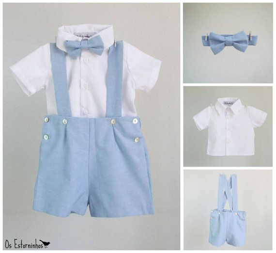 3pc Blue Teal Tie Shirt Suit for Baby Boy Toddler Kid Pants Color by Selection