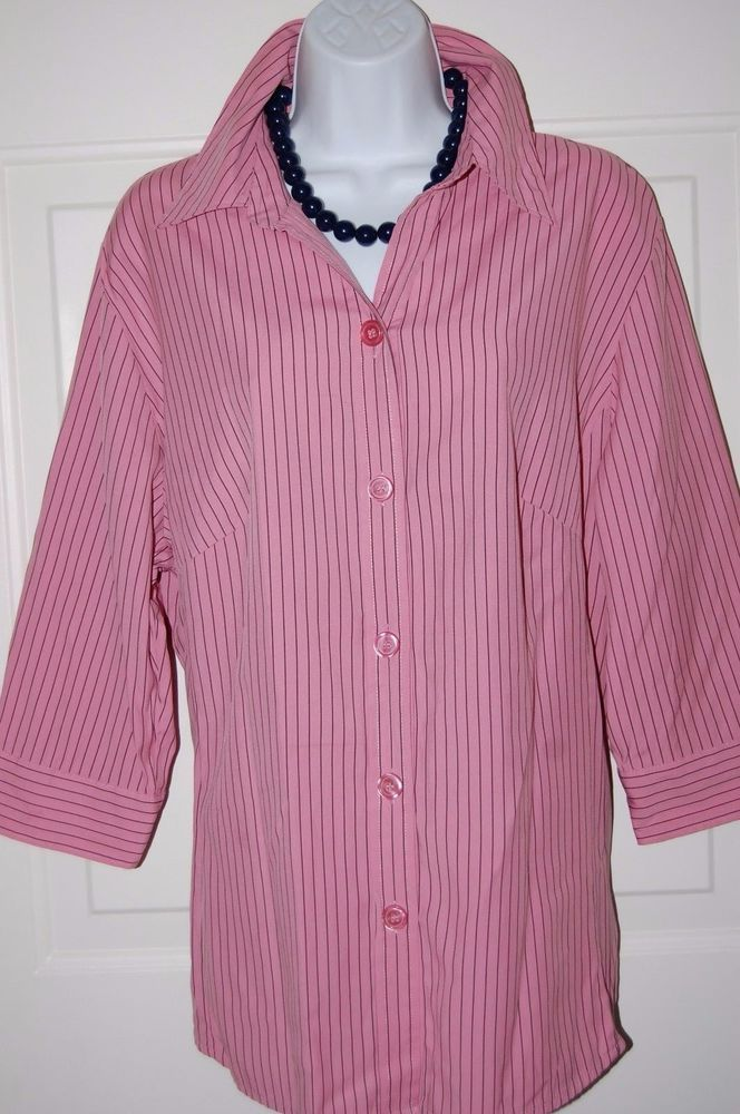 3098ff84be5 Dressbarn Shirt Womens Plus Blouse 18 20 Pink Pinstripe Top 3 4 Sleeve   Dressbarn  ButtonDownShirt  CareerCasual