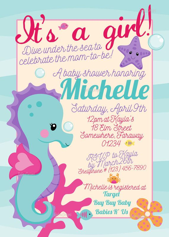 itu0027s a girl under the sea seahorse baby shower by