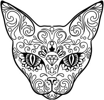 Day Of The Dead Cat Skull Coloring Pages Cat Coloring