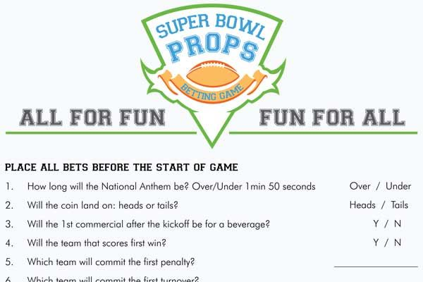 Prop Bets Are My Fave Superbowl Party Super Bowl Superbowl Betting Games