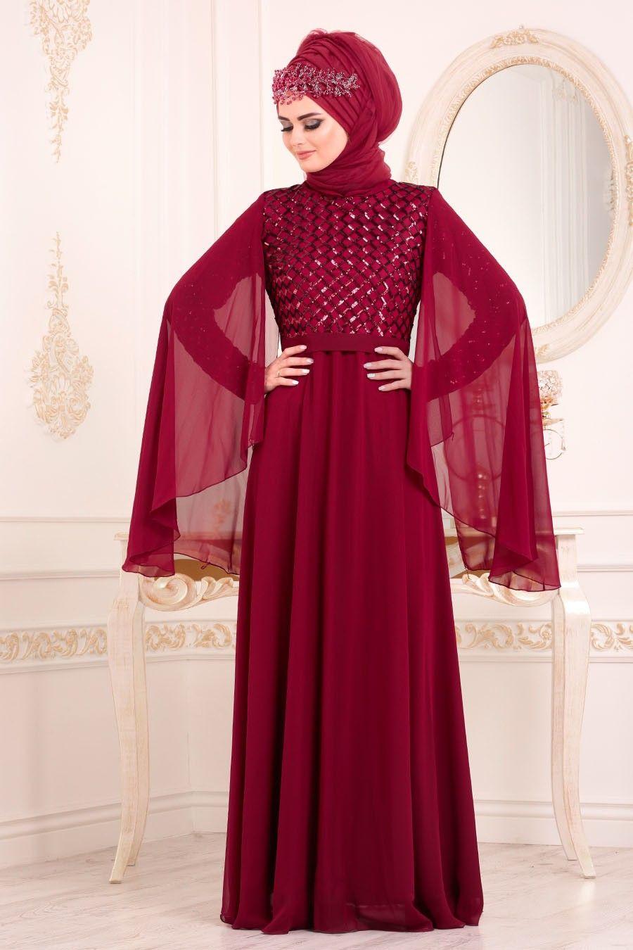 8321fe462f87a Tesettürlü Abiye Elbiseler - Pul Payetli Bordo Tesettür Abiye Elbise 3293BR  ÜRÜN KODU : 3293BR