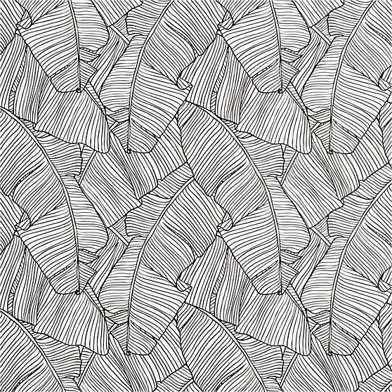 Palm Black And White Self Adhesive Wallpaper Cb2