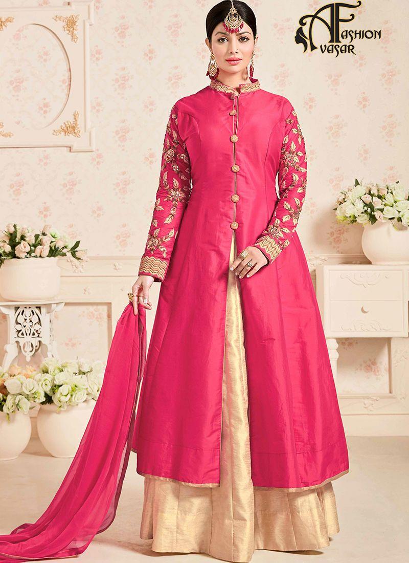 Brick Red Color Pure Cotton Casual Wear Achkan Style Lehenga Suit ...