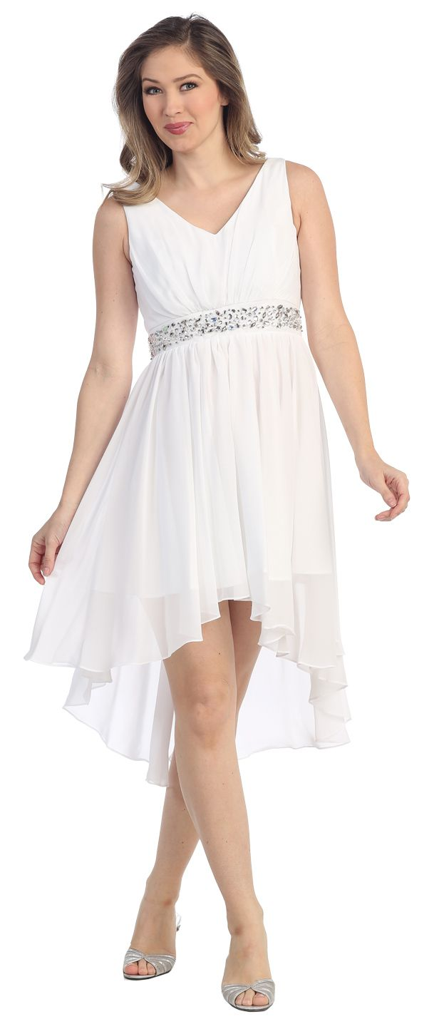 V Neckline High Low White Winter Formal Dress Rhinestone Empire Waist 3 Colors Available High Low Cocktail Dress Spring Dresses Casual Short Wedding Dress [ 1450 x 616 Pixel ]