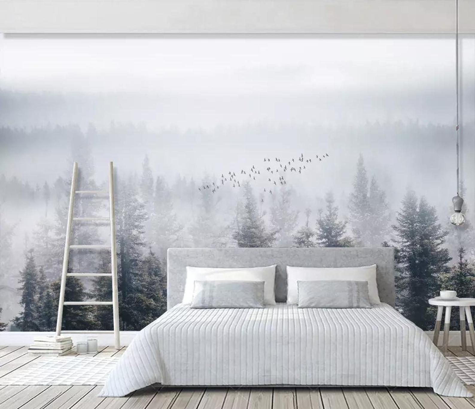 Misty forest wallpaper removable mural monogrammed tree