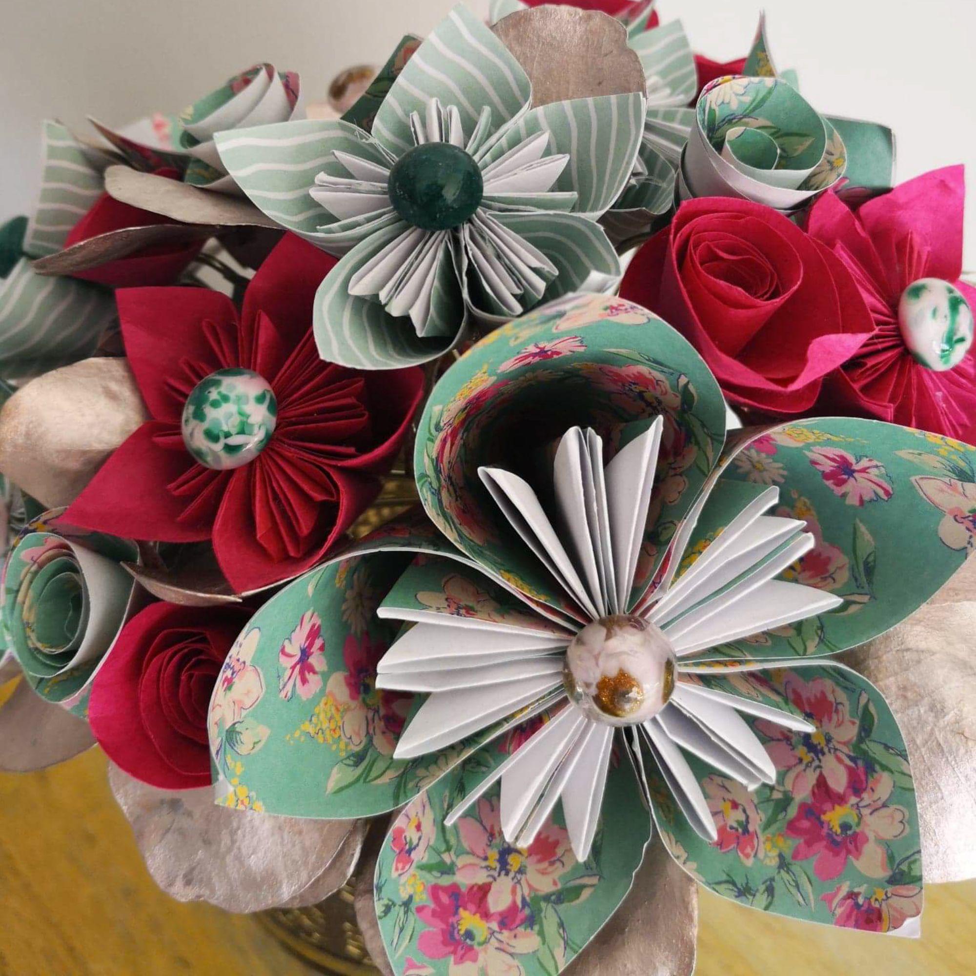 Feuille D Eucalyptus Bouquet bouquet de fleurs en papier et feuilles d'eucalyptus