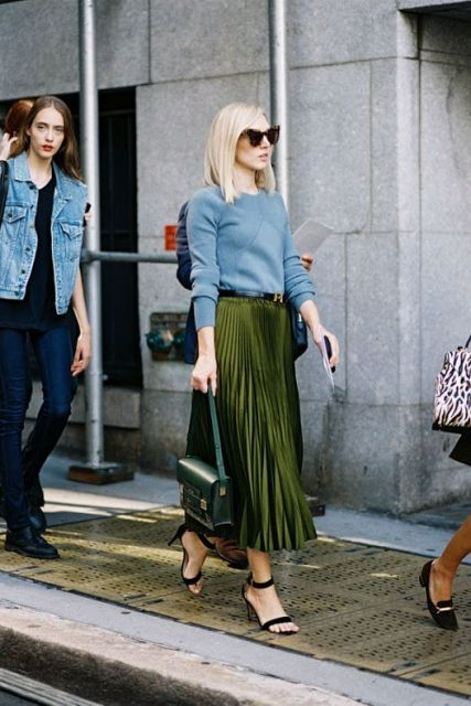 a42db50a2ff53 Fashionable look with light blue sweatshirt and pleated olive green midi  skirt