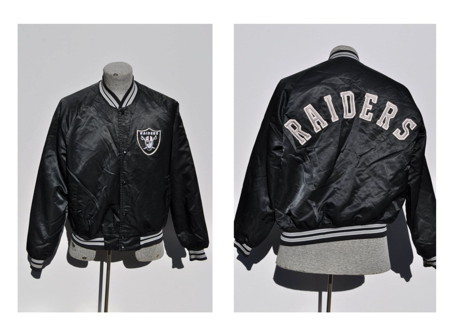 best service 58ede b5ce4 Oakland raiders vintage starter jacket throwback chalk line ...