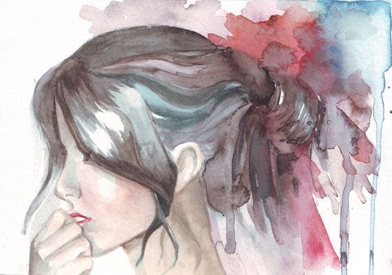 Original Watercolor Art Woman Hair Contemporary By Helgamcl