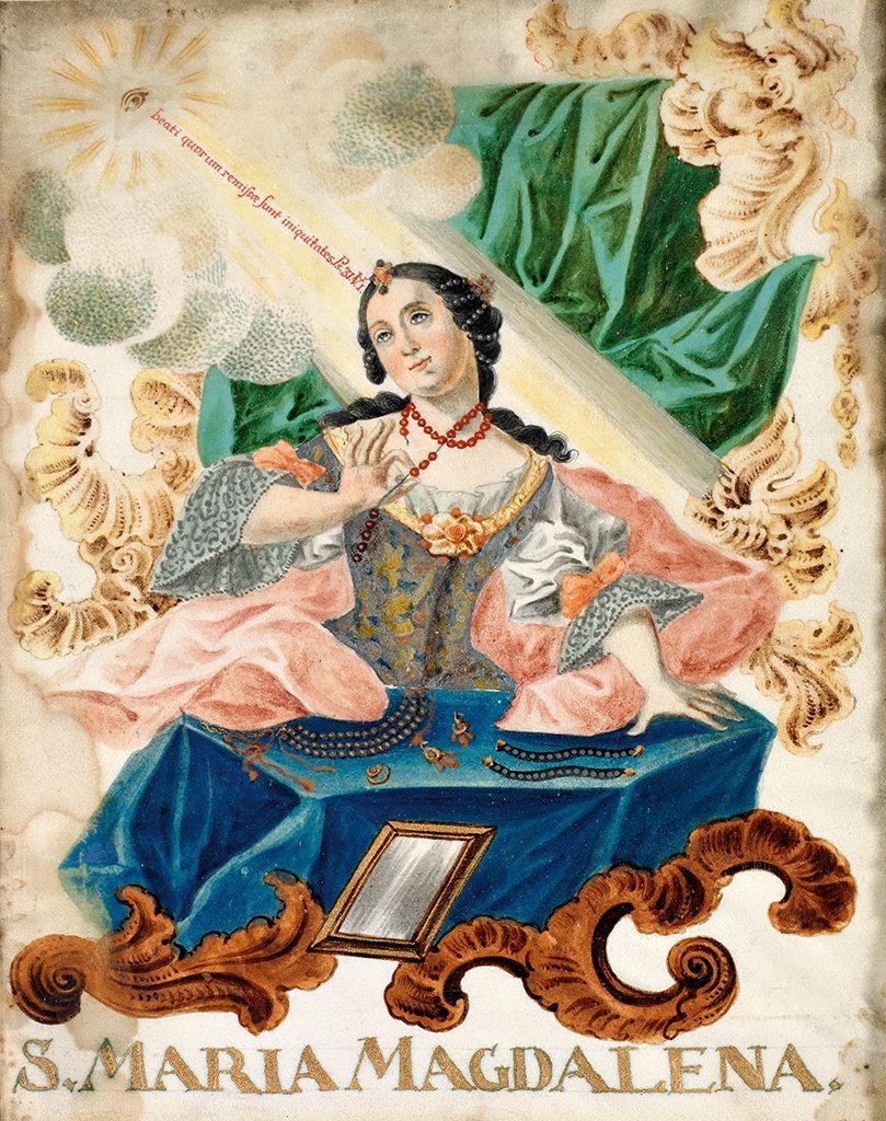 Maria Magdalena. Polychrome Malerei auf Pergament. 18. Jh.