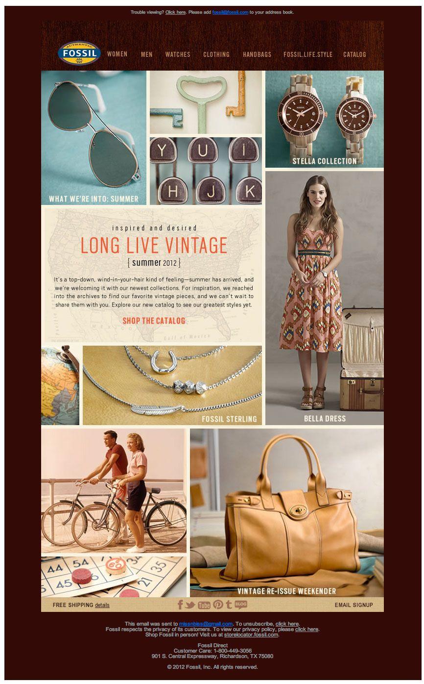 Fossil Vintage Email Vintage Summer Fossil Email Design