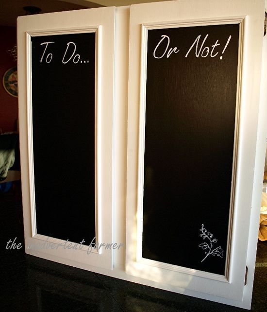 To do... or not! chalk board on kitchen cabinets. DIY