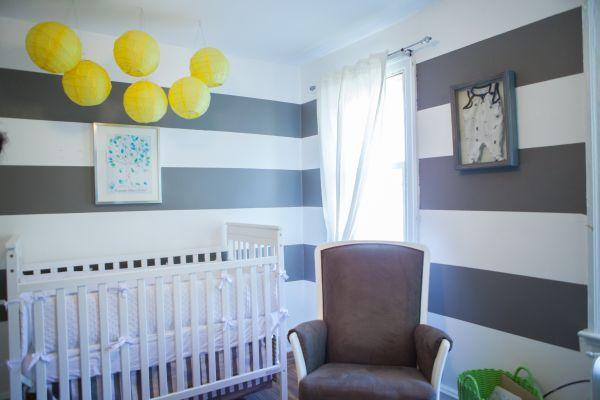 Grey White Yellow Nursery Inspiration Striped Wall Lanterns Crib Rocking Chair