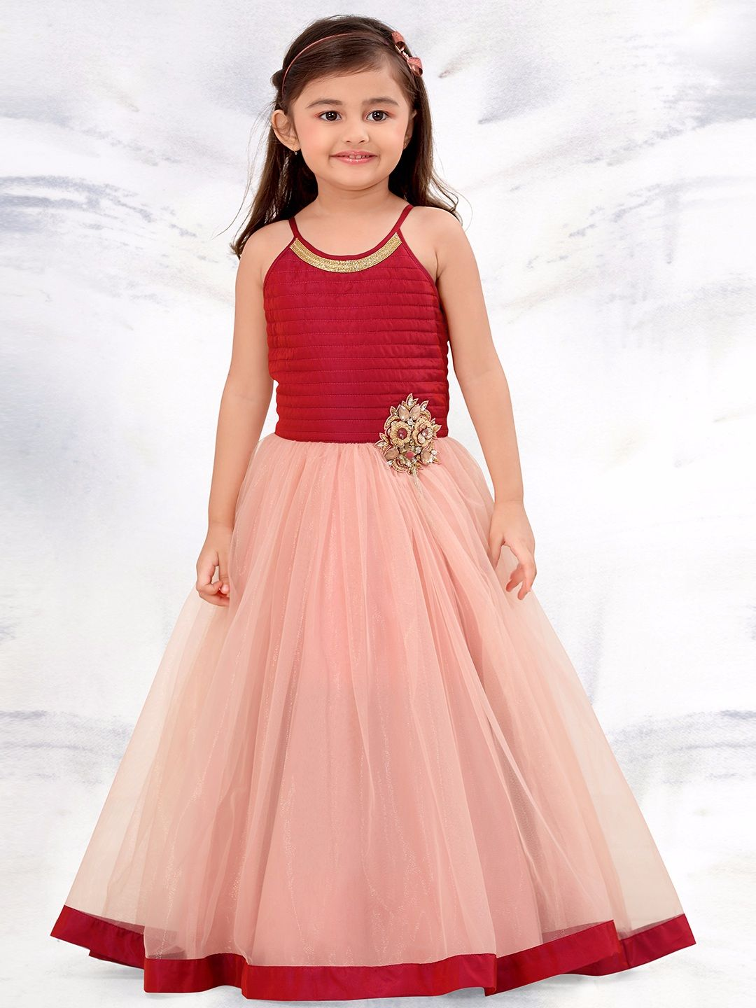 G3 Exclusive Net Party Wear Peach Gown Girls Gown G3 Colection In