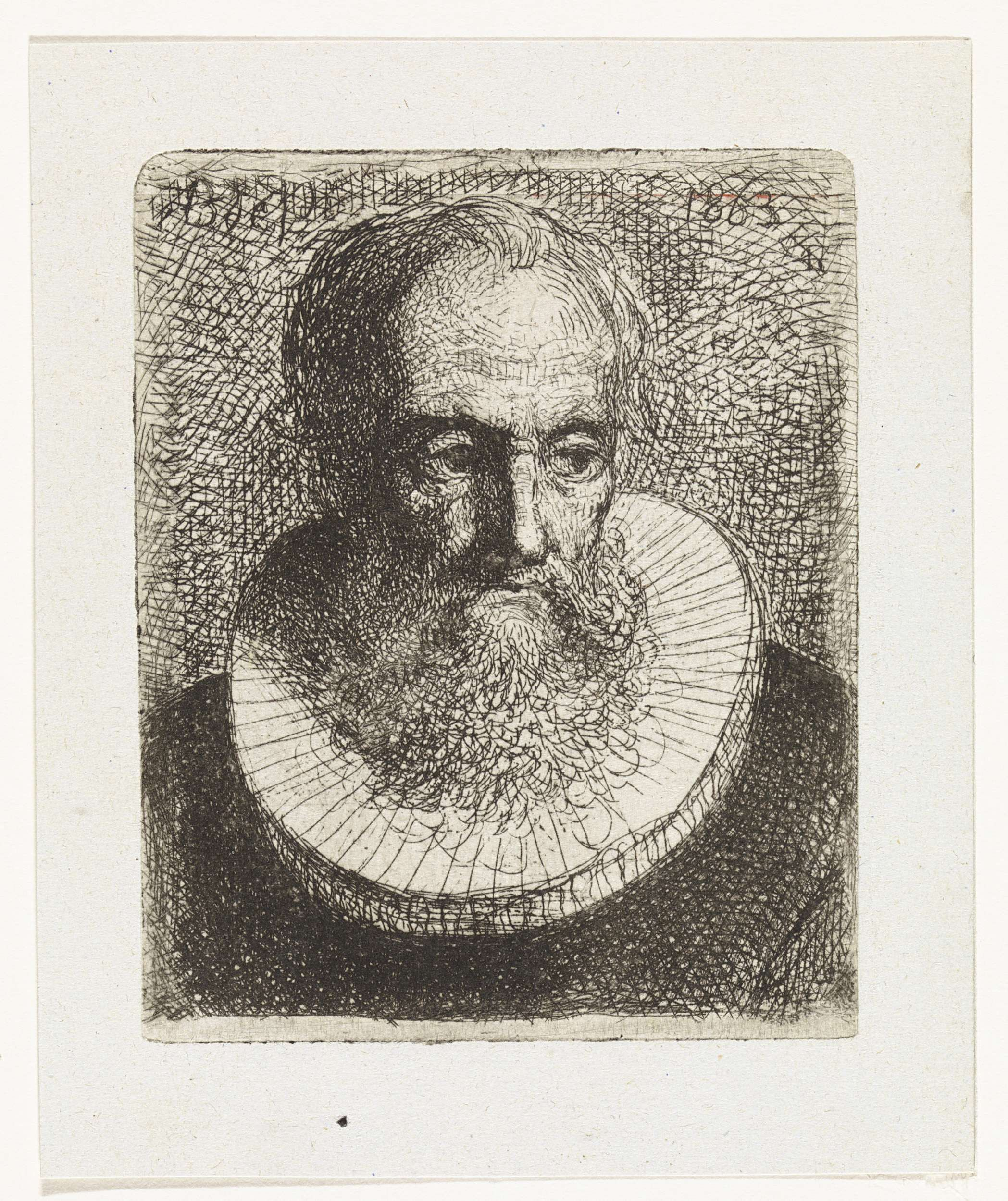 Bastiaan de Poorter | Portret van een onbekende man, Bastiaan de Poorter, 1863 | Portret van een man met baard en plooikraag.