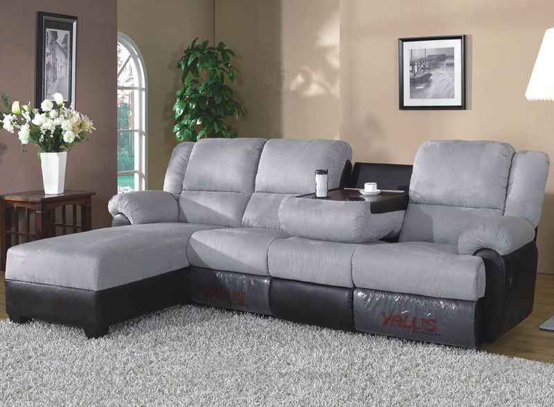 Microfiber 2 Tone Reclining Sectional with Left Facing Corner