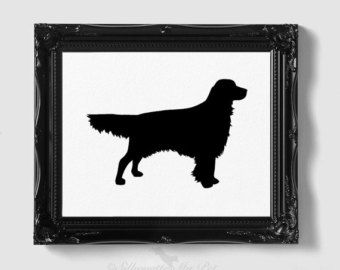 Golden Retriever Silhouette - Hand-cut Original Dog Art - Personalization, Multiple Colors and Backgrounds Available