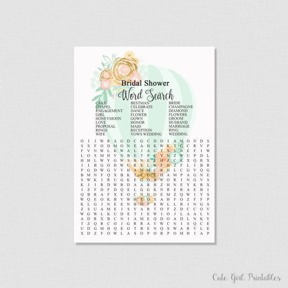 vintage bride bridal shower word search bridal shower game printables mint green crossword puzzle hot air balloon word search 0003g