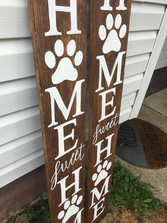 Home Sweet Home With Paw Dog Welcome Sign Front Porch Decor