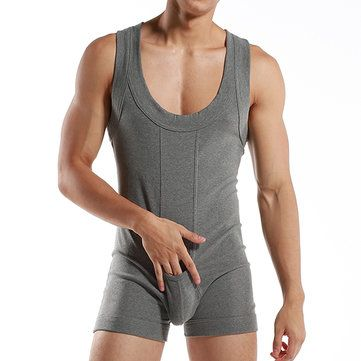 Sexy Pure Cotton One Piece Siamese Vest Home Body Breathable Pouch Pajamas  for Men Cheap - NewChic Mobile. 73b6fc6b7